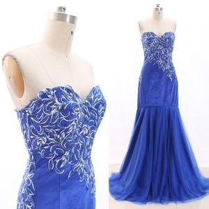 Mermaid Strapless Tulle Pageant Gown Prom Dress